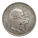1892 Denmark Silver 2 Kroner Golden Wedding Anniv MS-65 NGC