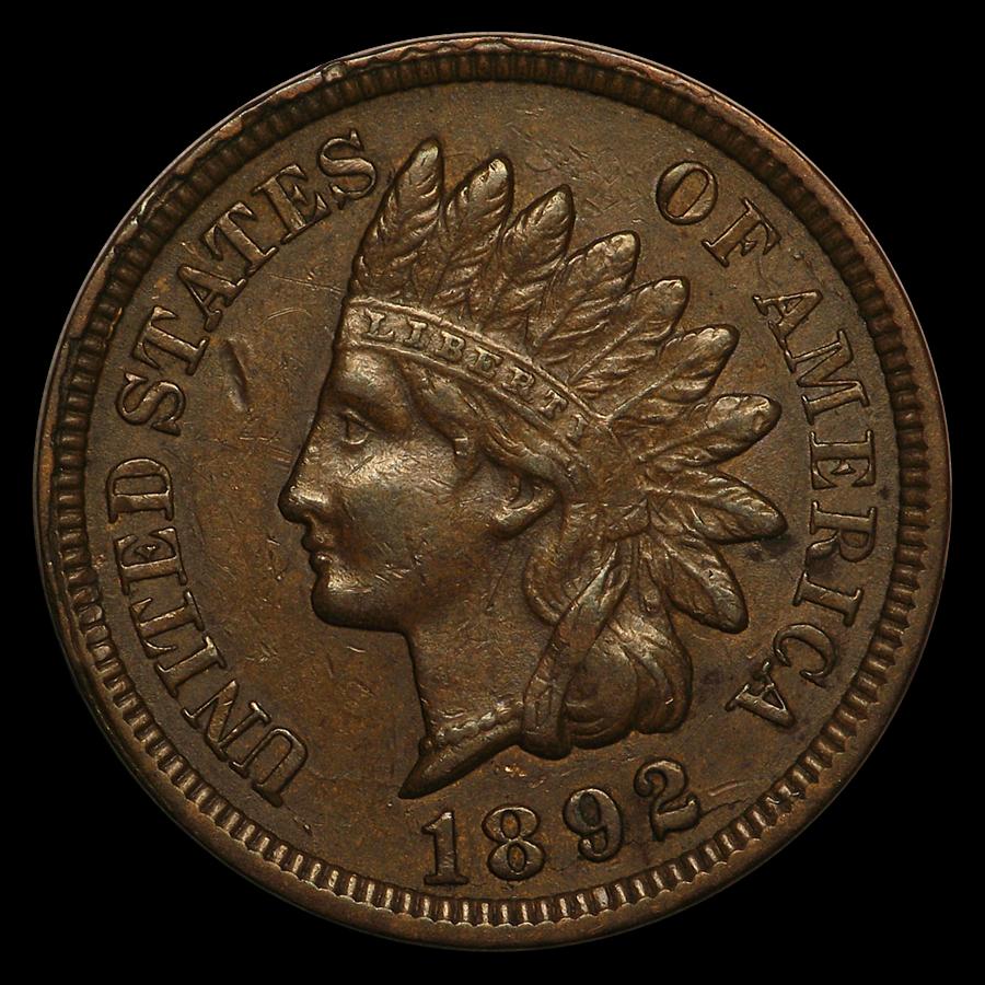1892 Indian Head Cent AU