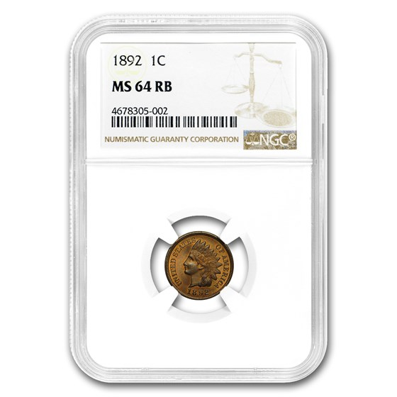 1892 Indian Head Cent MS-64 NGC (Red/Brown)