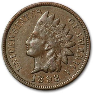 1892 Indian Head Cent XF