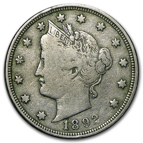 1892 Liberty Head V Nickel Fine