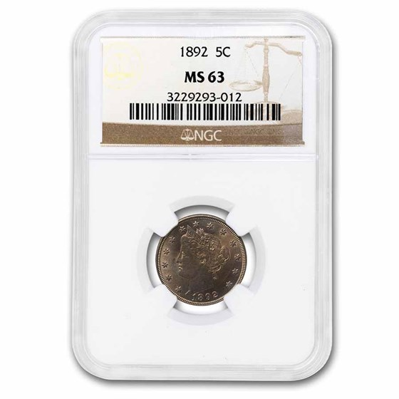 1892 Liberty Head V Nickel MS-63 NGC
