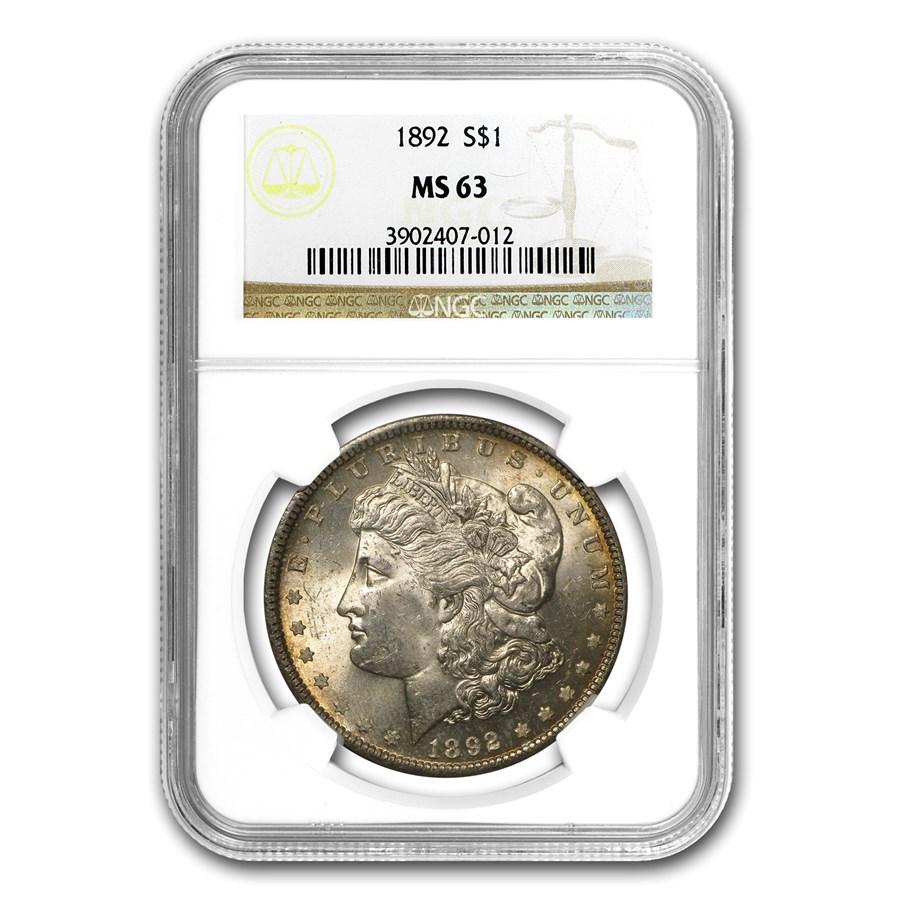 1892 Morgan Dollar MS-63 NGC (Toned)