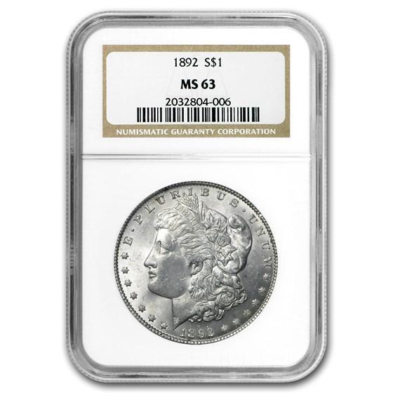 1892 Morgan Dollar MS-63 NGC