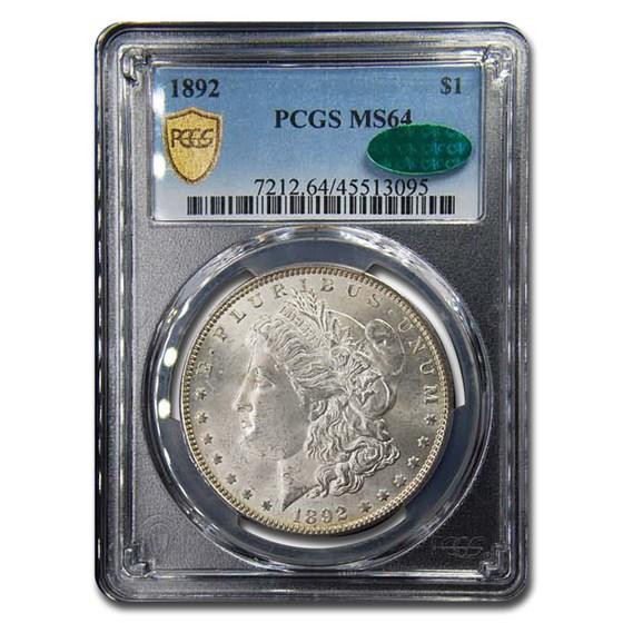 1892 Morgan Dollar MS-64 PCGS CAC