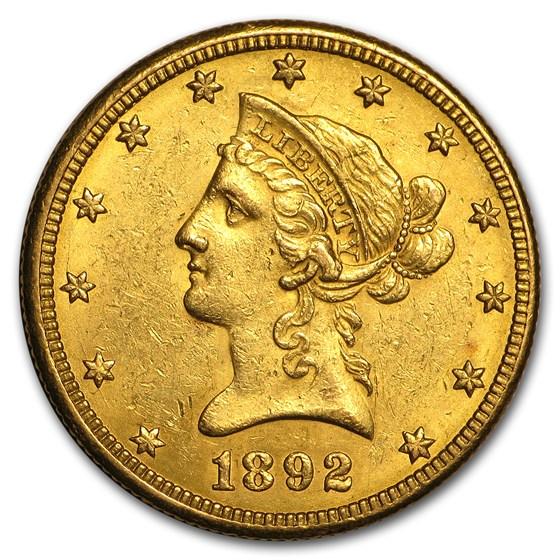 1892-O $10 Liberty Gold Eagle AU