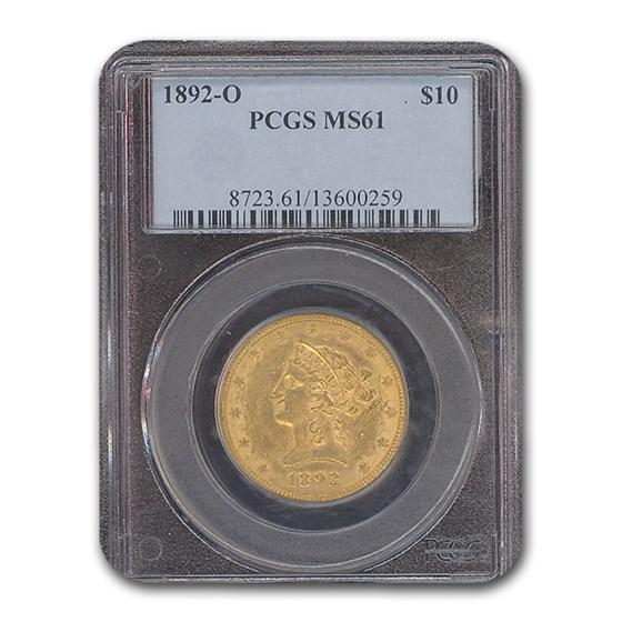 1892-O $10 Liberty Gold Eagle MS-61 PCGS