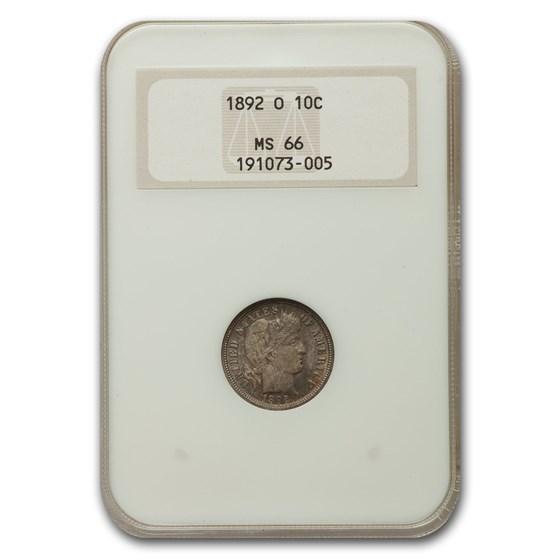1892-O Barber Dime MS-66 NGC