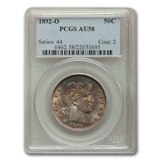 1892-O Barber Half Dollar AU-58 PCGS