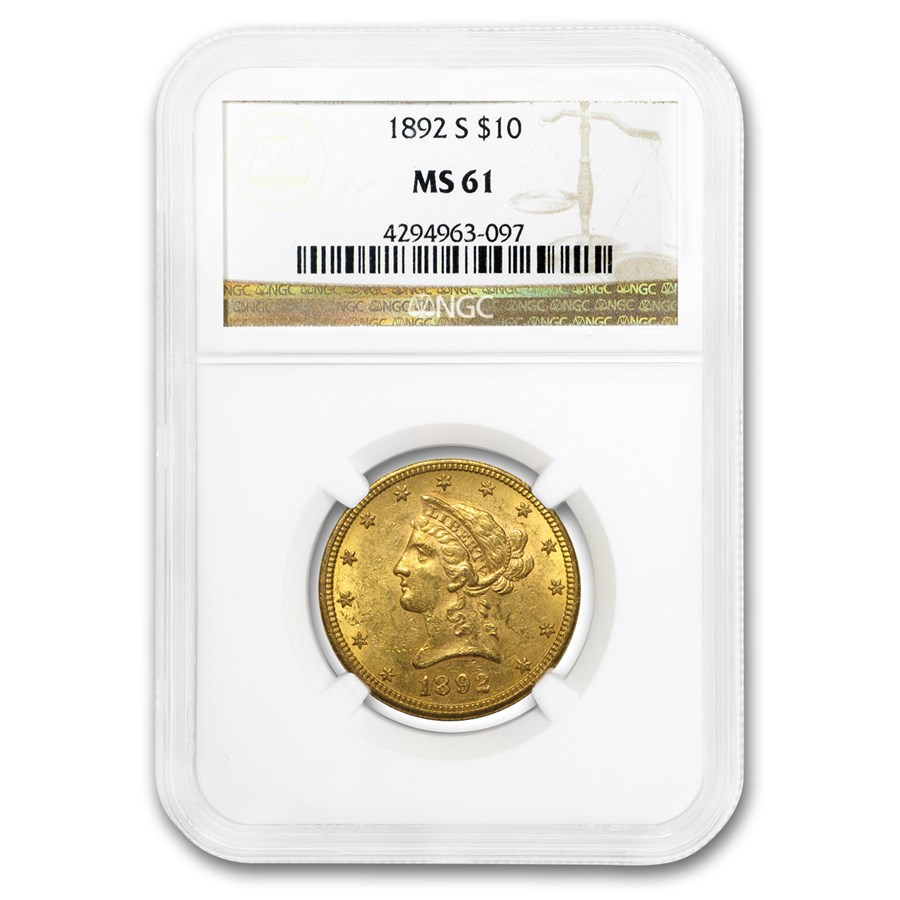 1892-S $10 Liberty Gold Eagle MS-61 NGC