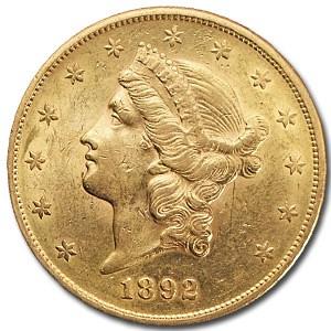 1892-S $20 Liberty Gold Double Eagle AU