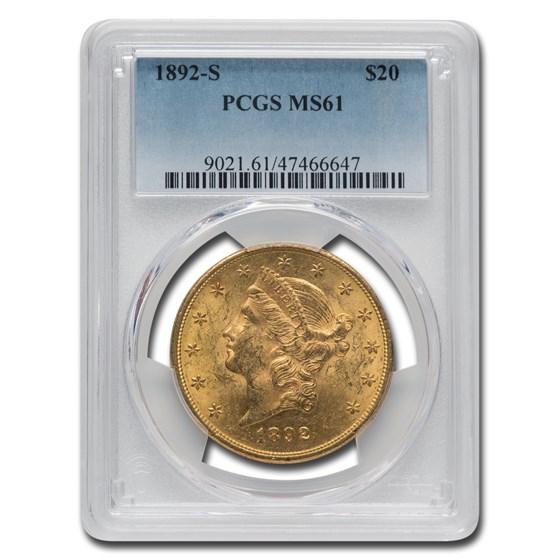 1892-S $20 Liberty Gold Double Eagle MS-61 PCGS