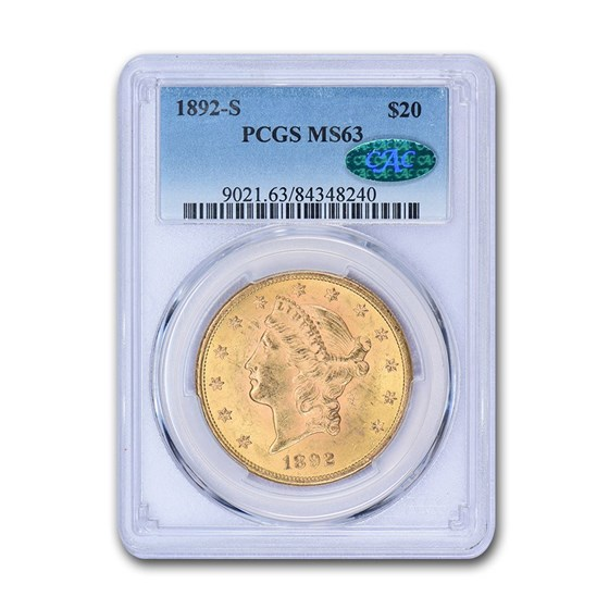 1892-S $20 Liberty Gold Double Eagle MS-63 PCGS CAC