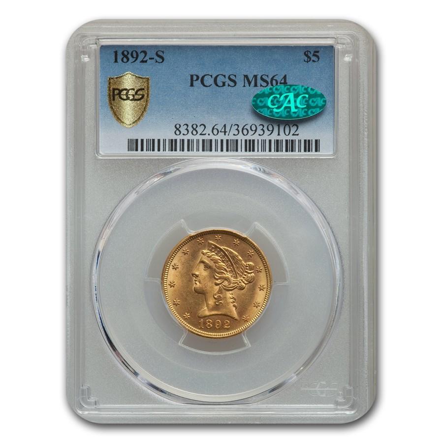 1892-S $5 Liberty Gold Half Eagle MS-64 PCGS CAC