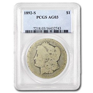 1892-S Morgan Dollar AG-3 PCGS (Low Ball Registry)