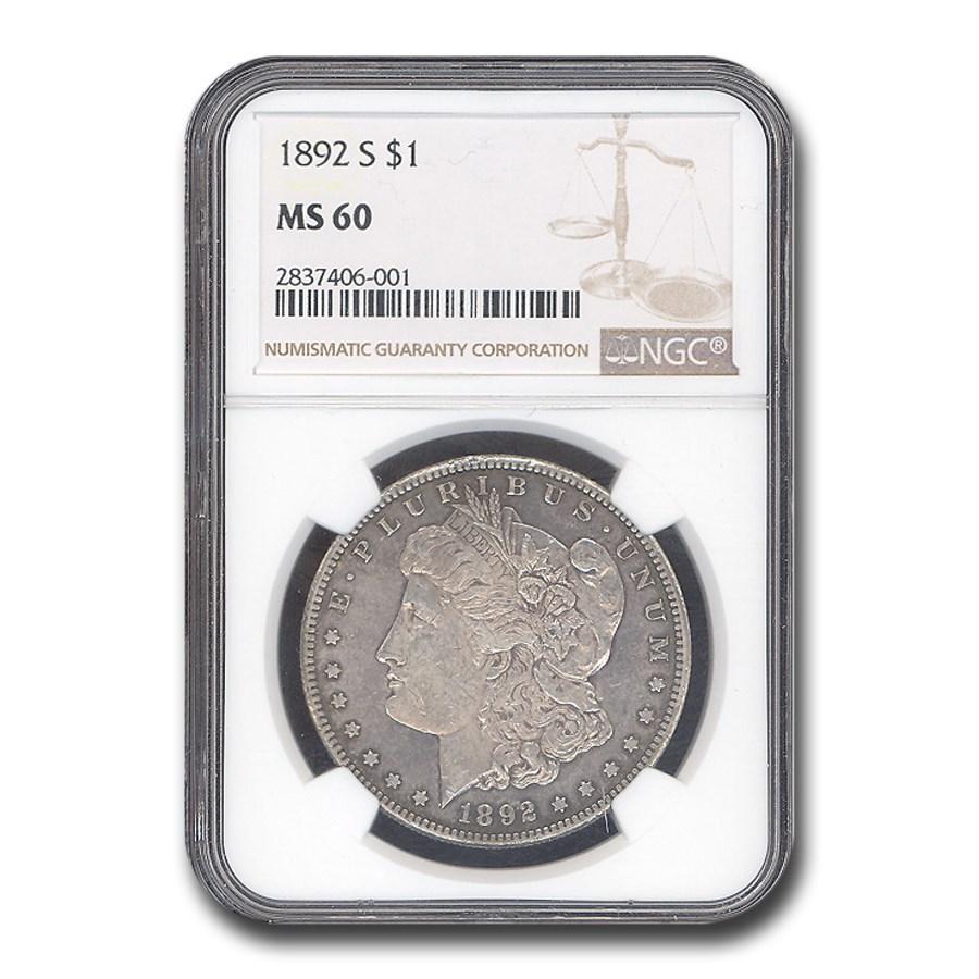 1892-S Morgan Dollar MS-60 NGC