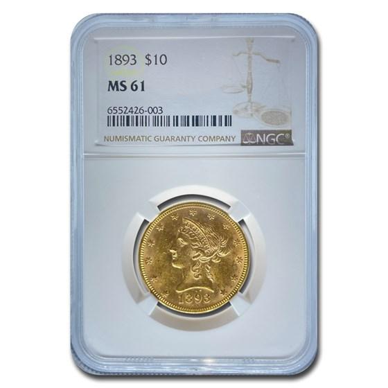 1893 $10 Liberty Gold Eagle MS-61 NGC