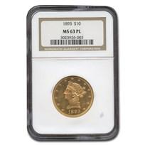1893 $10 Liberty Gold Eagle MS-63 NGC (PL)