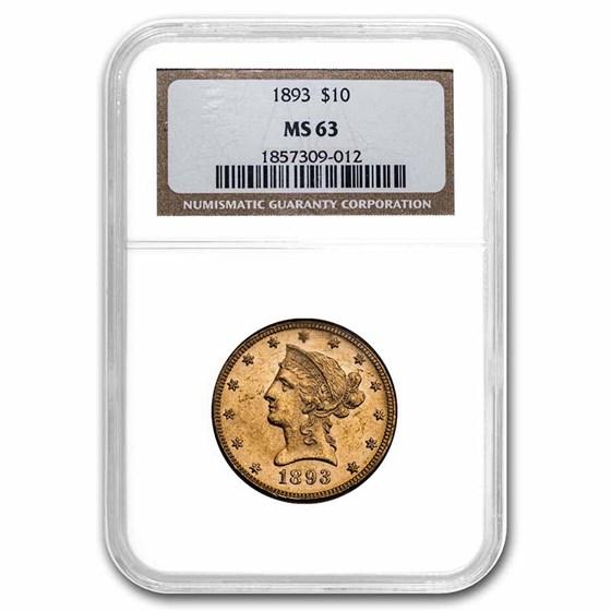 1893 $10 Liberty Gold Eagle MS-63 NGC
