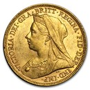 1893-1901 Great Britain Gold Sovereign Victoria Veil Head AU