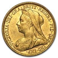 1893-1901-M Australia Gold Sovereign Victoria Veil Head AU