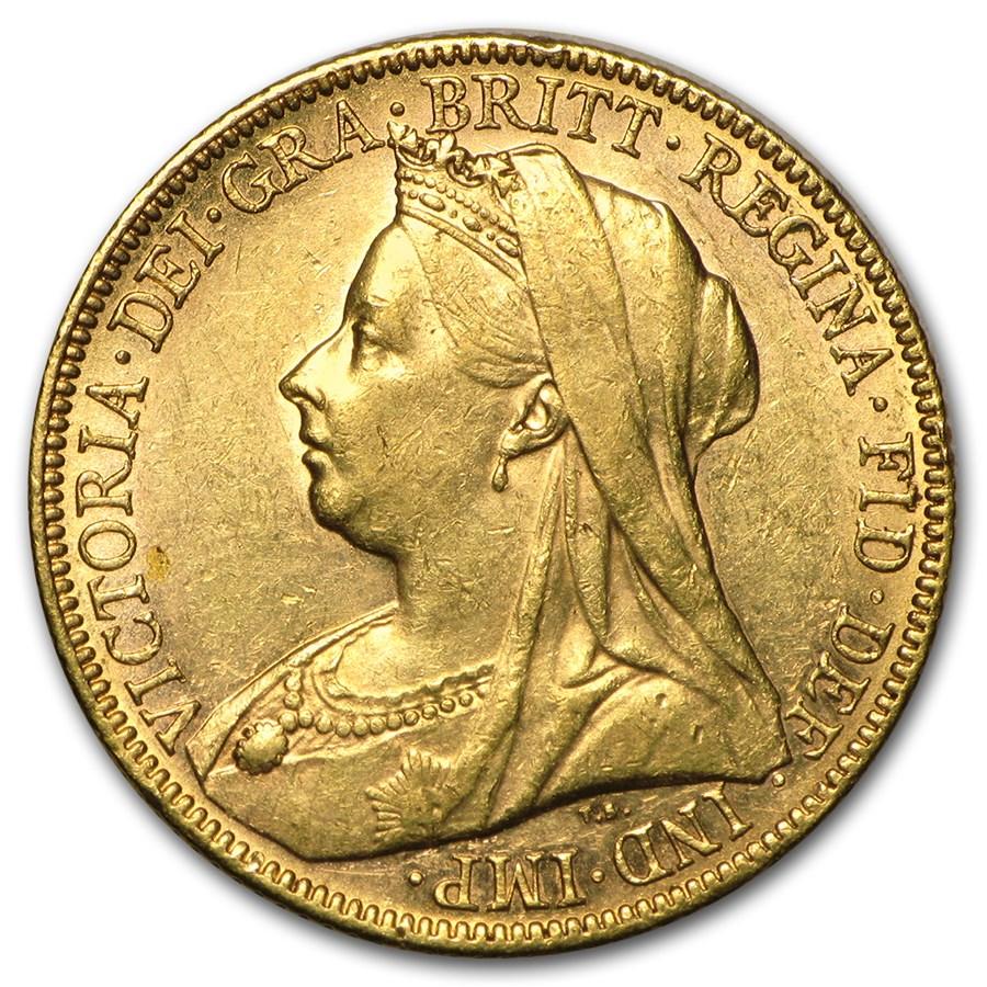 1893-1901-M Australia Gold Sovereign Victoria Veil Head Avg Circ
