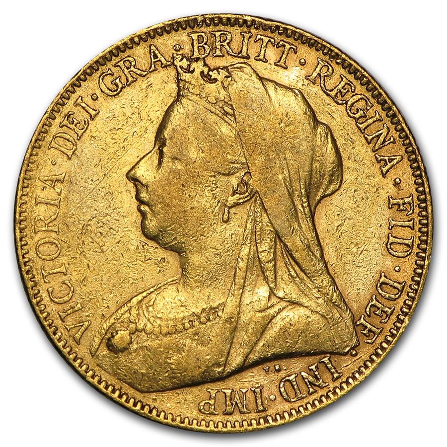 1893-1901-P Australia Gold Sovereign Victoria Veil Head Avg Circ