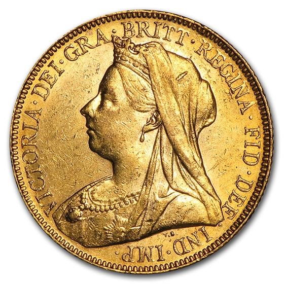 1893-1901-P Australia Gold Sovereign Victoria Veil Head BU