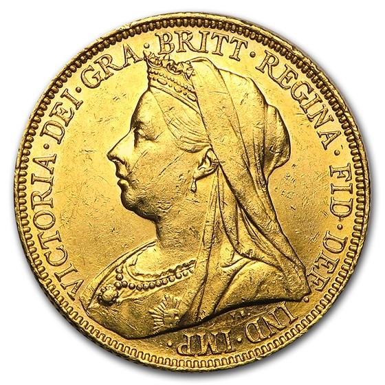 1893-1901-S Australia Gold Sovereign Victoria Veil Head AU