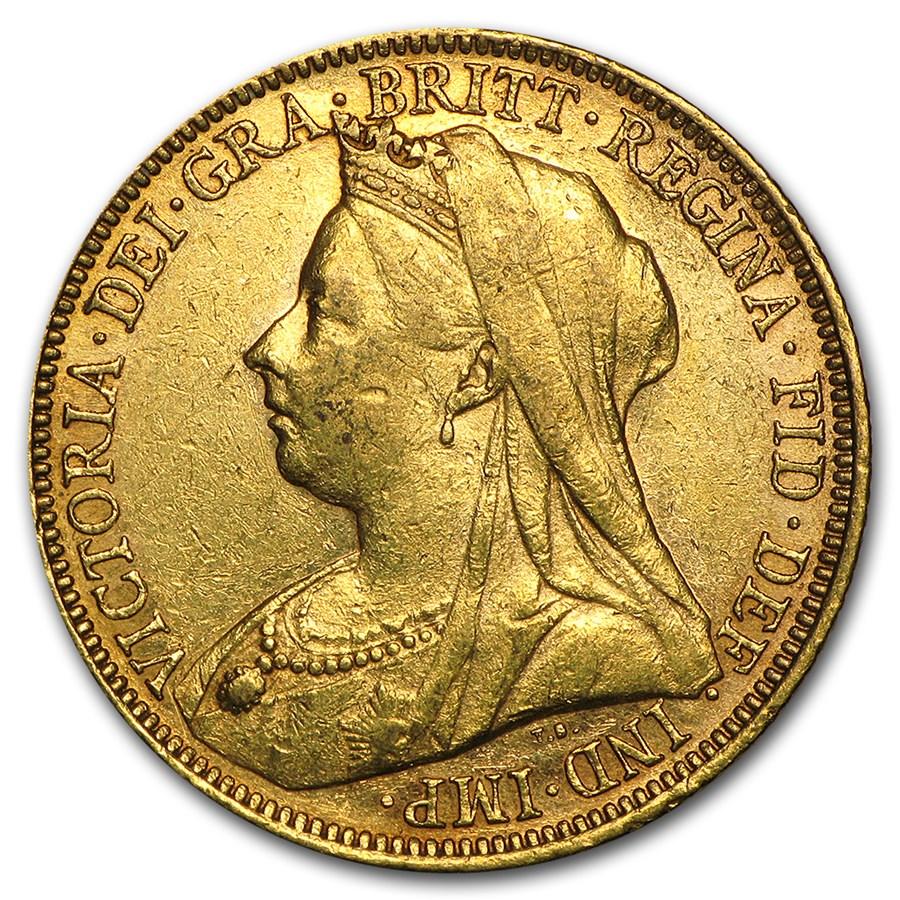 1893-1901-S Australia Gold Sovereign Victoria Veil Head Avg Circ