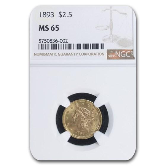 1893 $2.50 Liberty Gold Quarter Eagle MS-65 NGC