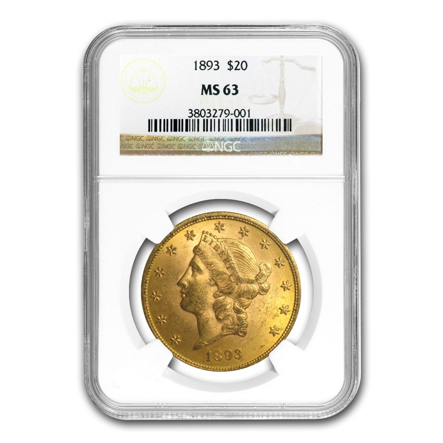 1893 $20 Liberty Gold Double Eagle MS-63 NGC