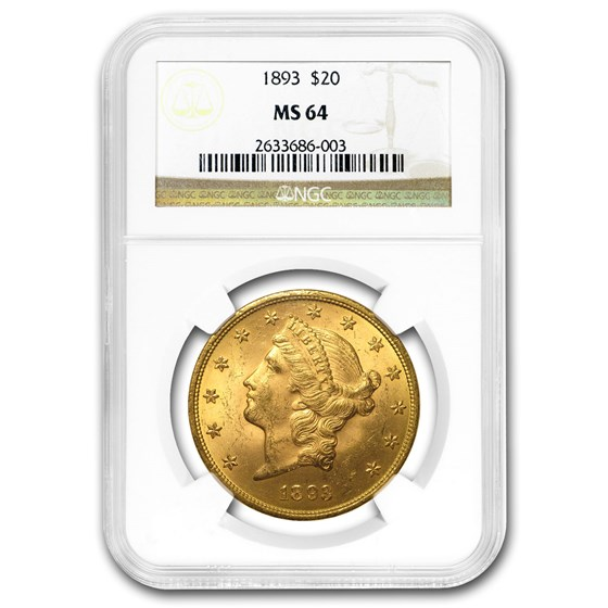 1893 $20 Liberty Gold Double Eagle MS-64 NGC