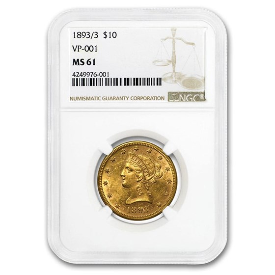 1893/3 $10 Liberty Gold Eagle MS-61 NGC (VP-001)