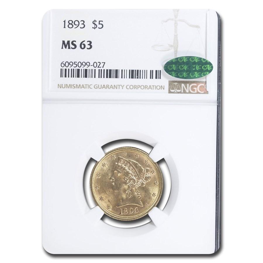 1893 $5.00 Liberty Gold Half Eagle MS-63 NGC CAC