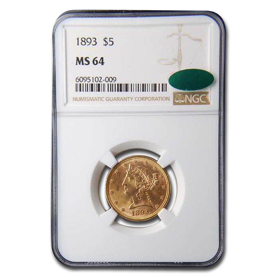 1893 $5 Liberty Gold Half Eagle MS-64 NGC CAC