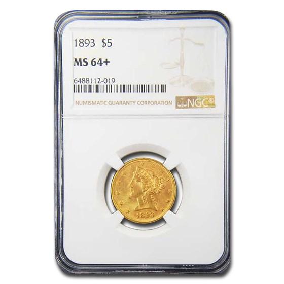 1893 $5 Liberty Gold Half Eagle MS-64+ NGC