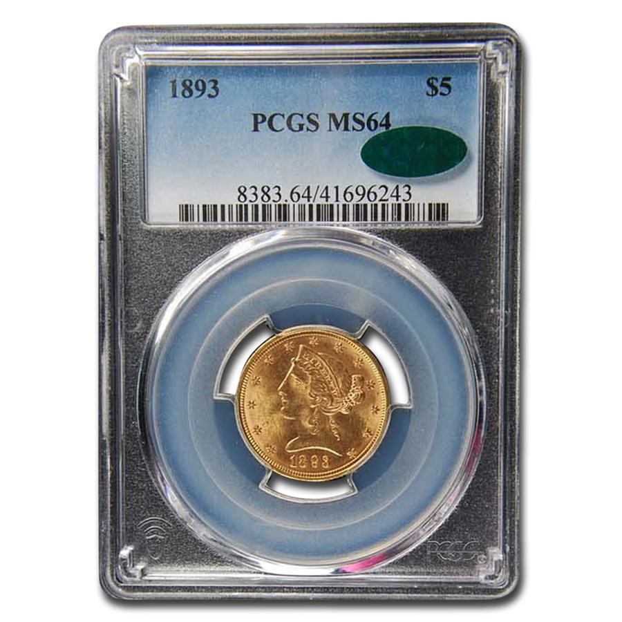 1893 $5 Liberty Gold Half Eagle MS-64 PCGS CAC