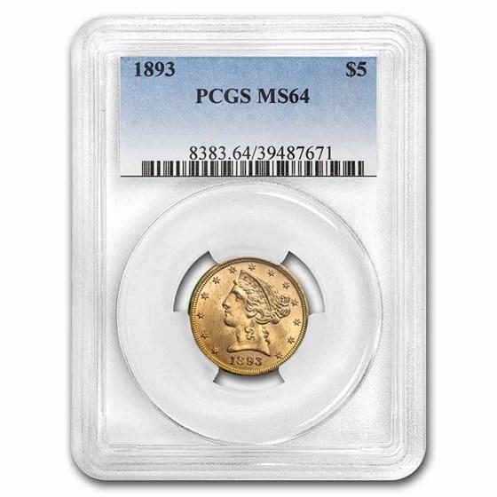 1893 $5 Liberty Gold Half Eagle MS-64 PCGS