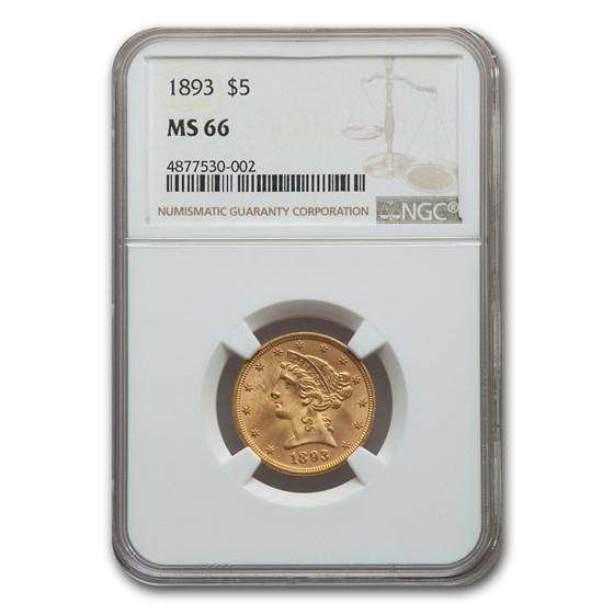 1893 $5 Liberty Gold Half Eagle MS-66 NGC