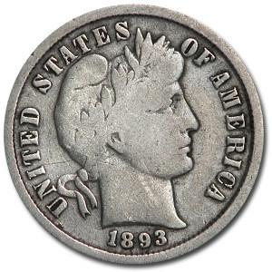 1893 Barber Dime Fine (Details)