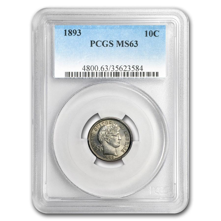 1893 Barber Dime MS-63 PCGS