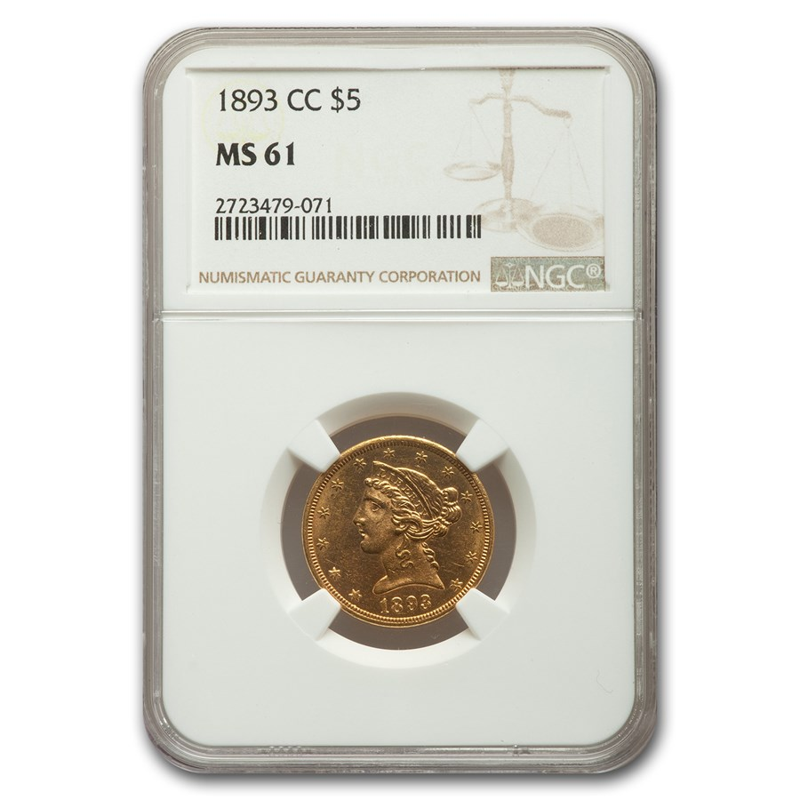 1893-CC $5 Liberty Gold Half Eagle MS-61 NGC