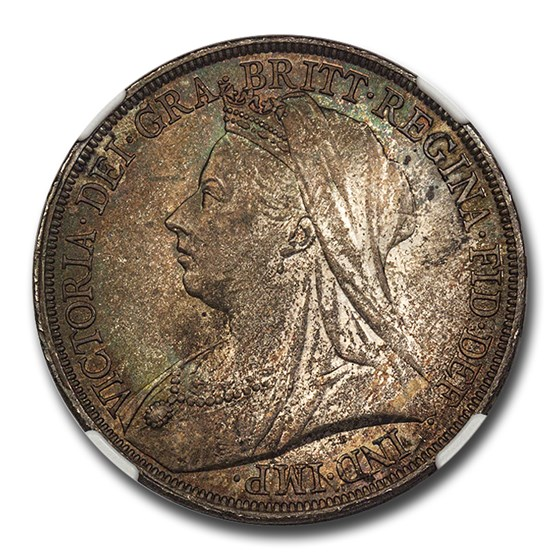 1893 Great Britain Silver Crown Victoria Veil MS-65 NGC