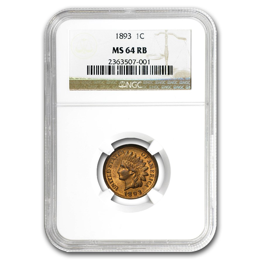 1893 Indian Head Cent MS-64 NGC (Red/Brown)