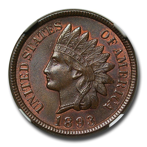 1893 Indian Head Cent MS-65 NGC CAC (Brown)