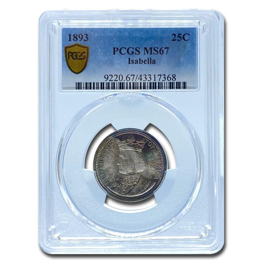 1893 Isabella Quarter MS-67 PCGS