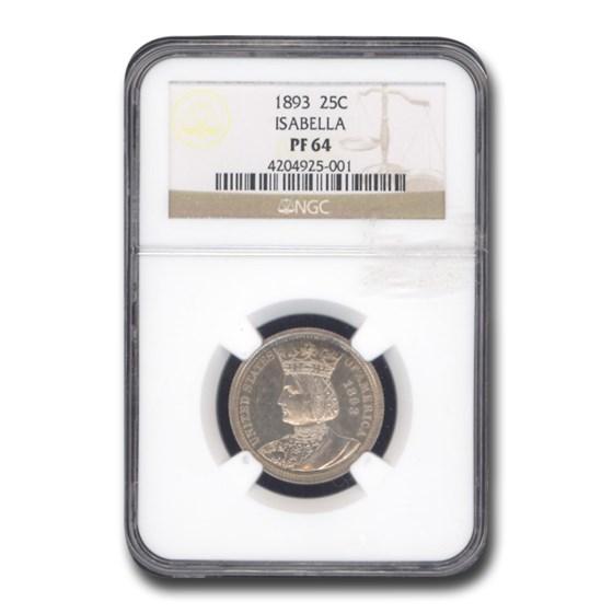 1893 Isabella Quarter PF-64 NGC