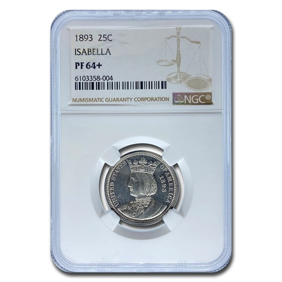 1893 Isabella Quarter PF-64+ NGC
