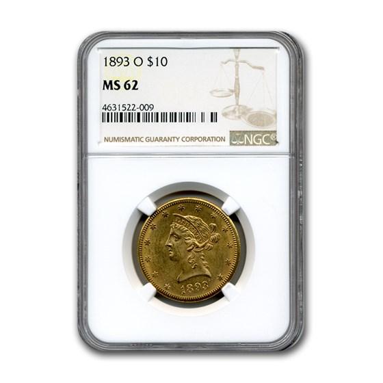 1893-O $10 Liberty Gold Eagle MS-62 NGC